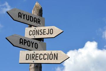 Ayudar, consejo, apoyo, direccion - signpost in Spanish.
