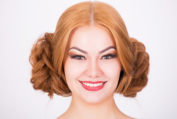 Ginger model with crazy hairstyle