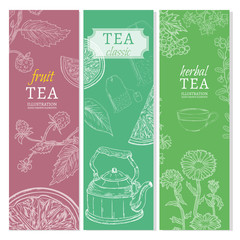 Tea banners black tea fruit tea herb tea hand drawn elements