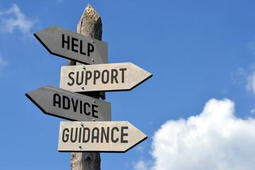 Fototapeta Help, support, advice, guidance signpost. obraz