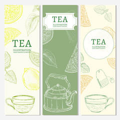 Tea banners hand drawn vintage tempate sketch