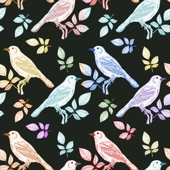 Vector seamless pattern fantastic colorful birds hand drawn