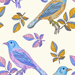 Vector seamless pattern with colorful birds hand drawn vintage
