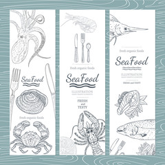 Sea food banner hand drawn vector