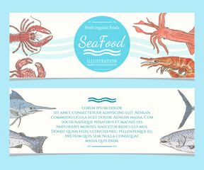 Seafood banners watercolor hand drawn vector illustration