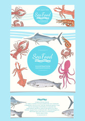 Seafood template for menu vector banner illustration