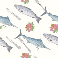 Seafood seamless pattern salmon fillet with lemon and greens
