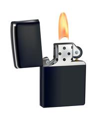 Lighter in a metal case. burning fuse. flint sparks converter. convertible top. vector illustration.