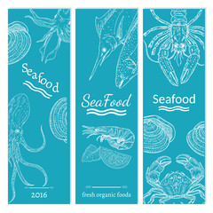 Sea food template for menu hand drawn vintage