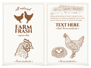 Chicken and eggs farm fresh products design template