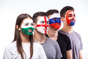Face portrait of football fans support their national team: Slovakia, Wales, Russia, England on white background. European football fans concept.