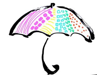 イラスト 傘 カラフル