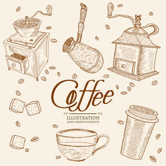 Vintage coffee objects hand drawn set
