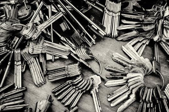 Piles of Blank Keys in Monochrome