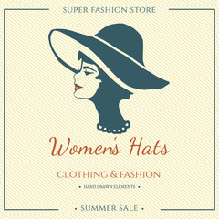 Women hats poster fashion beauty logo
