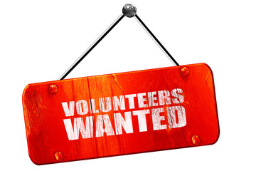 volunteers wanted, 3D rendering, vintage old red sign