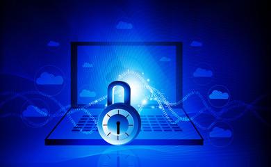 Internet security. Pad lock on digital tech background