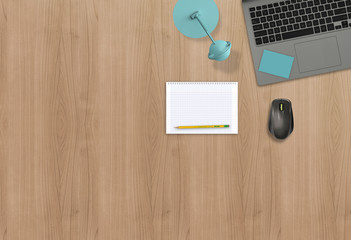 Office workspace business desk top view hero image for mock up. Wooden background