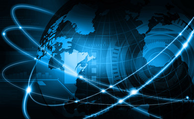 Futuristic background of Global business network, internet, Globalization concept.