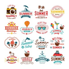 Vintage summer design and typography design with labels, posters, icons element set.