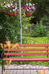 Beautiful bench under the shade of a tree. The recreation area surrounded by flowers