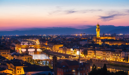 View of Florence from Michelangelo's hill on a sunset