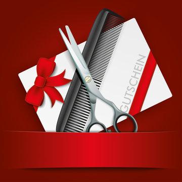 Scissors Comb Gutschein Red Banner
