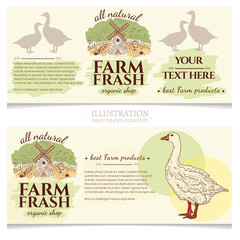 Goose and duck farm fresh products design template