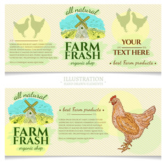 Chicken rooster farm fresh products design template