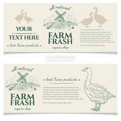 Goose duck farm fresh products design template banner