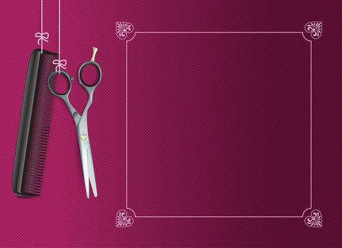 Hanging Scissors Comb Purple Vintage Frame