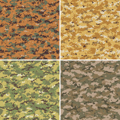 Set of digital and analog seamless camouflage patterns.