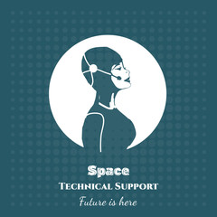 Space technical support pop art vector illustration