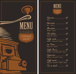 menu for a cafe shop with a picture coffee grinder and a price
