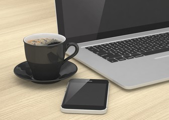 Laptop smartphone and coffee cup on wood. 3d rendering.
