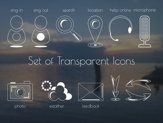 Set of transparent icons. White outlines and a blurred vector background. Twelve different isolated elements.