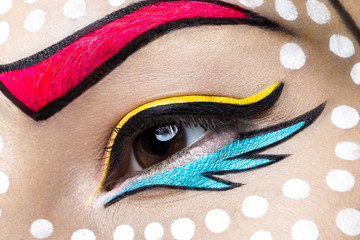 Photo of  young woman  with professional comic pop art make-up. Creative beauty style. Close up