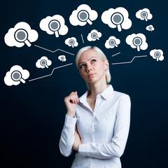 Business button search cloud web magnifier loupe connection.