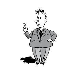 cartoon männchen mit erhobenem zeigefinger