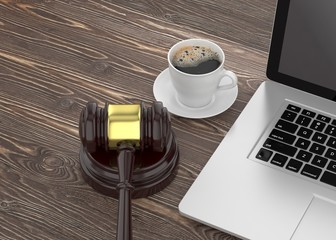 Gavel, laptop and coffee. 3d rendering.