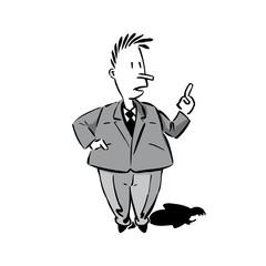 comics männchen in anzug mit erhobenem zeigefinger