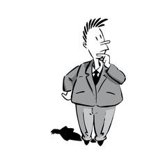 comics männchen in anzug überlegend