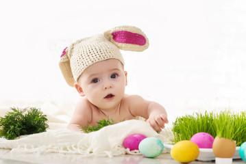 Little boy dressed bunny studio easter concept