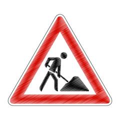 Baustelle - Kritzelei Gefahrzeichen