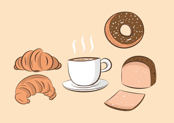 vector illustration of coffee  with donut; bread and croissant