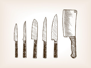 Knife set hand drawn sketch style vector
