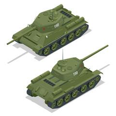 Flat 3d isometric illustration of tank. Military Transportation. Military Tank. Military Tank isometric. Military Tank vector. Tank EPS.
