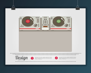 Party and sound, musical entertainment. Flat vector illustration