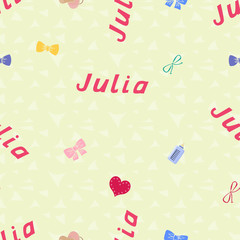Seamless background pattern name Julia of the newborn. Name baby Julia. Seamless name Julia. Julia vector.