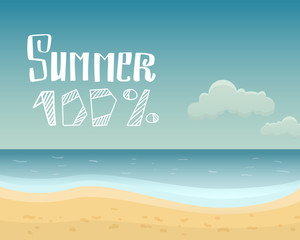 Vector illustration of sea and sky. 100 summer.